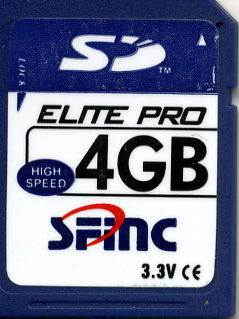 SFINC 4GB SD memory card